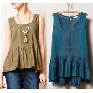Anthropologie Meadow Rue Blue Peplum Crochet Tank